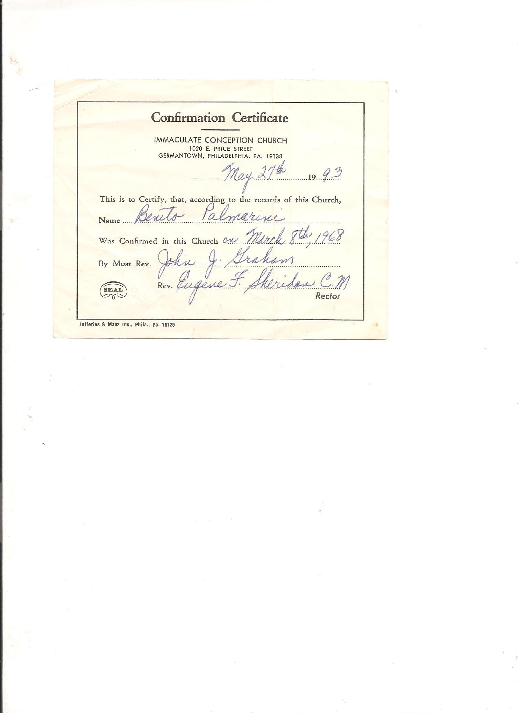 Confirmation Certificate Benito Palmarini
